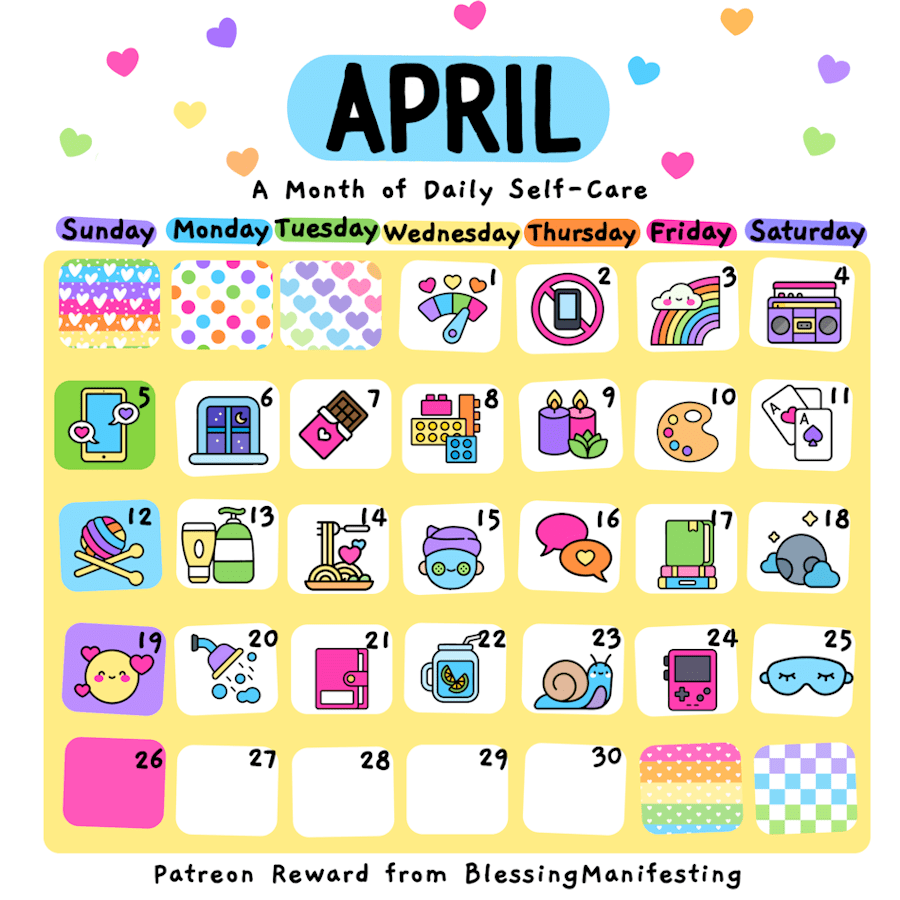 April Self-Care Calendar